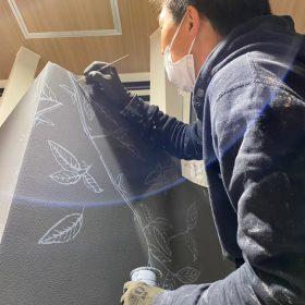 ステンシル壁画手法